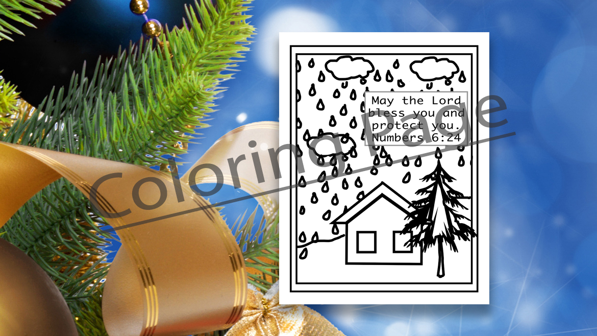 example view of rainy day coloring page